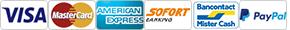 VISA | MasterCard | American Express | Sofort | Mister Cash | PayPal